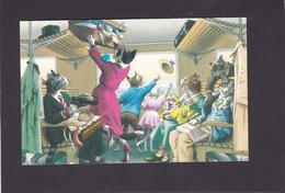 Anthromorphic Cat Card  -    Cats In A Train Carraige. - Gatos