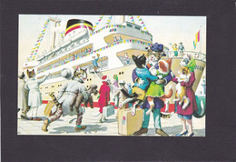 Anthromorphic Cat Card  -    Cats Boarding Large Ship. - Gatos