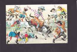Anthropomorphic Cat Card  -    Rodeo - Cats Riding A Goat. - Gatos