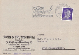 MWST Regensburg 1943 Fasse Dich Kurz!!am Fernsprecher - Marcofilia - EMA ( Maquina De Huellas A Franquear)