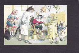 Anthropomorphic Cat Card  -    Cats At The Dentists. - Gatos