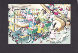 Anthropomorphic Cat Card  -    Cats Out Shopping. - Gatos
