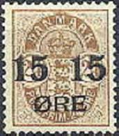 DENEMARKEN 1904 Opdruk 15/24õre Wapentype Bruin Tanding PF-MNH-NEUF - Ungebraucht