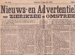 Zierikzee Nieuws-Adv. Blad 3 Augustus 1912 KE178 - General Issues