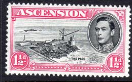 ASCENSION - 1938-1953 KGVI DEFINITIVE 1953 1½d BLACK & ROSE-CARMINE PERF 13 FINE LIGHTLY MOUNTED MINT MM * SG 40e REF A - Ascension (Ile De L')