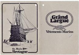 "SAINT-MALO . JUGON. DINAN.(35) PUBLICITE. VETEMENTS MARINS "" GRAND LARGUE "" ILLUSTRATION De La BRETAGNE "" - Advertising"