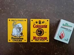 """2 Kleine Schilder Aus Metall: """"Hercules Cycles"""" Und """"Coleman's Mustard"""" - Non Classés"""