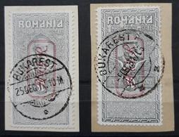 Deutsche Besetzung - Militärverwaltung In Rumänien Fiskalmarken Mi. V+VIII Gestempelt Auf Briefstück (1835) - Occupation 1914-18