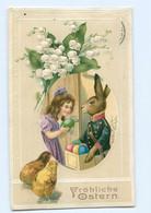 Y8498/ Ostern Osterhase Als Postbote Briefträger Litho Präge AK 1914 - Easter