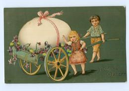 Y8474/ Ostern Kinder Mit Handkarren, Osterei, Litho Prägedruck AK 1908 - Easter
