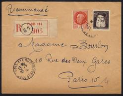 GOUNOD - MUSIQUE / 27-3-1944 PREMIER JOUR - FDC - # 601 SUR LETTRE RECOMMANDEE VOYAGEE / RARE (ref 4332) - ....-1949