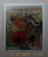 FRANCE 2021 DU  FEUILLET  NOUVEL  AN CHINOIS  Année Du Buffle  A 1.50€  Timbre  Neuf   (GRAND FORMAT)  CACHET  ROND - Used Stamps