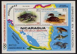 NICARAGUA Année 1979 BF Participation Aux J. O De 1980 Tortues - Nicaragua