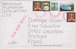 ETATS-UNIS USA 2008 Env. PA Vers La France  Affranch. Multi. PA Plage Paysage, Libellule, Chippendale Chair, Amer. Clock - Cartas