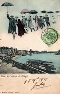 Une Excursion à Liege Avec Parapluie, Bateau Sur La Meuse - Edition F. Manger, Carte Dos Simple Colorisée - Liège