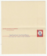 US 1956 Postal Stationery Postcard With Reply   B210201 - 1941-60