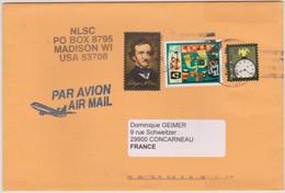 ETATS-UNIS USA 2008 Env. Air Mail Vers La France  Affranchissements Multiples Edgar A Poe, Latin Jazz, American Clock - Cartas
