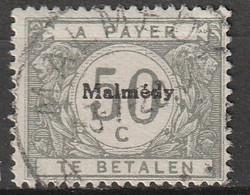"Belgie 1920 BZ83 Bezetting Malmédy Strafport 50ct Centraal Gestempeld ""MALMÉDY"", Oblitéré - [OC55/105] Eupen/Malmedy"