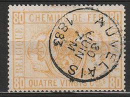 """Belgie 1879-1882 SP5/TR5 80 C Zonder Gaatjes. Obl """"AUVELAIS"""". Prachtig Gestempeld. Luxe.  Cat € 75,- - Used"""