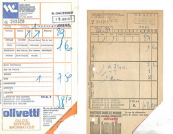 2 Factures Cie Internationale Des Wagons Lits / Pub OLIVETTI,  Bière MUTZIG & PELFORTH  BRUCE & SCOTT - Transportmiddelen
