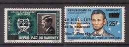 Dahomey, 1967, Kennedy, JFK, Lincoln, Overprinted, MNH, Michel 313-314 - Benin – Dahomey (1960-...)