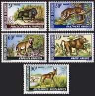 Dahomey, 1969, Buffalo, Leopard, Hyena, Baboon, Antilope, Animals, MNH, Michel 369-373 - Benin – Dahomey (1960-...)