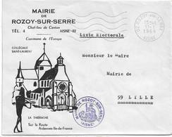 LETTRE ILLUSTREE FRANCHISE ROZOY SUR SERRE AISNE 1969 LISTE ELECTORALE - 1961-....