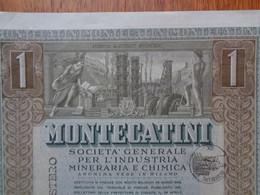 ITALIE - MILANO 1948 - MONTECATINI , INDUSTRIE MINERALE ET CHIMIQUE  : TITRE DE 1 ACTION DE 500 LIRES - Unclassified