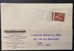CARTE POSTALE 80c IRIS SOCIETE COMMERCIALE DE COURTAGE IMPORTATION EXPORTATION PARIS A DOLE JURA - 1921-1960: Periodo Moderno