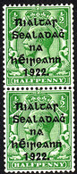 EIRE IRELAND 1922 ½d Green SG 26 Coil Pair One Mounted One Unmounted Mint - Unused Stamps
