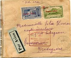 """REUNION FRANCE LIBRE LETTRE PAR AVION CENSUREE AVEC CACHET """"FORCES FRANCAISES COMBATTANTES REUNION-MADAGASCAR.........."""" - Covers & Documents"""