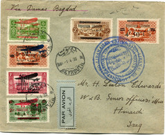 """GRAND LIBAN LETTRE PAR AVION AVEC CACHET BLEU """" ADMINISTRATIONS...SYRO-LIBANAISES.."""" DEPART BEYROUTH 1-4-30 POUR L'IRAQ - Lettres & Documents"""