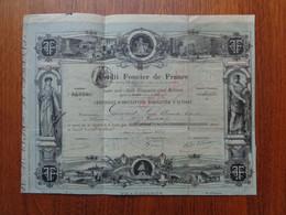 FRANCE - PARIS 1884 - CREDIT FONCIER DE FRANCE - TITRE DE 2 ACTIONS DE 500 FRS - ETAT MOYEN,  VOIR SCAN - Non Classés