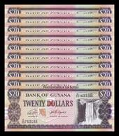 Guyana Lot Bundle 10 Banknotes 20 Dollars 2018 (2019) Pick 30 New SC UNC - Guyana