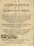 1642. LA GEOGRAPHIA DE POMPONIO MELA. Ilustrado Con Notas Y Con Un índice De Vocablos. Diego Díaz De La Carrera. Madrid, - Zonder Classificatie
