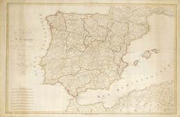 1809. CARTE D'ESPAGNE ET DE PORTUGAL OU SE TROUVEN LES GRANDES ROUTES DE POSTES. Hérisson. París, 1809. Grabado Al Cobre - Unclassified