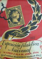 1936. Precioso Cartel Publicitario De LA EXPOSICION FILATELICA NACIONAL, Celebrada En Madrid Del 2 Al 6 De Abril De 1936 - Zonder Classificatie
