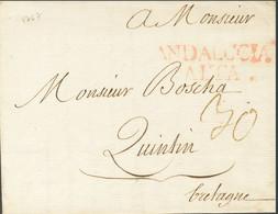 """Sobre . 1767. CADIZ A QUINTIN (FRANCIA). Marca ANDALUCIA / ALTA (P.E.12) Edición 2004 Y Porteo Francés """"30"""" Manuscrito.  - Unclassified"""