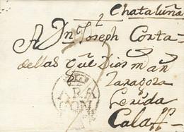 Sobre . 1792. SALILLAS (HUESCA) A CALAF. Marca ARA / GON, De Huesca (P.E.4) Edición 2004. MAGNIFICA Y MUY RARA. - Zonder Classificatie