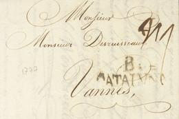Sobre . 1777. BARCELONA A VANNES (FRANCIA). Marca B. / CATALVÑA (tilde Curva), En Negro (P.E.44) Edición 2004. MAGNIFICA - Unclassified