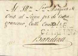 Sobre . 1804. FIGUERAS A BARCELONA. Marca F.16 / CATALUÑA, En Negro (P.E.15) Edición 2004. MAGNIFICA. - Unclassified