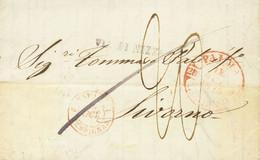 "Sobre . 1843. PALMA DE MALLORCA A LIVORNO (TOSCANA). Baeza PALMA / Y.BALEARES, Marca VIA DI NIZZA Y Porteo ""20"" Manuscri - Unclassified"
