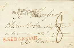 "Sobre . 1817. SAN SEBASTIAN A BURDEOS (FRANCIA). Marca S.SEBASTIAN (P.E.23) Edición 2004 Y Porteo Manuscrito ""8"" (refren - Unclassified"
