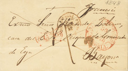 Sobre . 1848. AZCOITIA A BAYONA (FRANCIA). Baeza VERGARA / VITORIA (poco Legible) Y Marca FRANCO, En Rojo De Vergara (P. - Unclassified