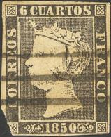 º1. 1850. 6 Cuartos Negro (defecto En Esquina). Matasello BARRAS DE LOGROÑO. BONITO. - Unclassified