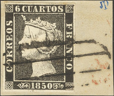 Fragmento 1. 1850. 6 Cuartos Negro (I-12), Sobre Fragmento. Matasello PARRILLA DE MADRID. MAGNIFICO. - Zonder Classificatie