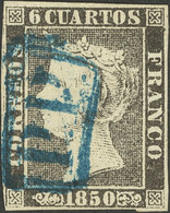 º1. 1850. 6 Cuartos Negro. Matasello P.P., En Azul De Barcelona. MAGNIFICO. - Unclassified
