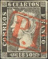 "º1. 1850. 6 Cuartos Negro (I-8). Matasello Prefilatélico ""P.P."", De Cádiz. MAGNIFICO Y RARO CON ESTA ESPECTACULAR ESTAMP - Unclassified"