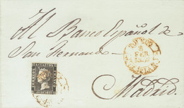 Sobre 1. 1850. 6 Cuartos Negro. TOLEDO A MADRID. Matasello Baeza TOLEDO / CAST. LA N. MAGNIFICA Y RARA. - Zonder Classificatie