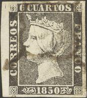 º1. 1850. 6 Cuartos Negro, Borde De Hoja. PIEZA DE LUJO. - Unclassified